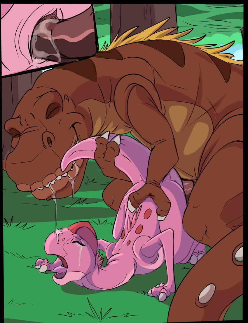 dinosaur time pink before land Anime princess with white hair